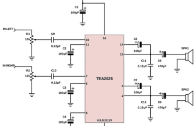 Skema Power Amplifier 5 Watt Stereo IC TEA2025 - Skema Power Amplifier 5 Watt Stereo IC TEA2025 - Skema Diagram